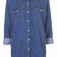 MOTO DENIM OVERSIZED SHIRT