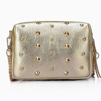 Casual Chic Studded Gold Little Purse. Metallic Genuine Leather Chain Sling Bag. Cute Small Clutch Bag