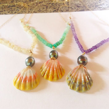 Sunrise shell real tahitan pearl gemstone gold bar necklaces