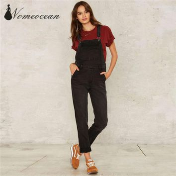 Fashion Overall Women Jeans Middle Washed Jean Pants 2017 Spring and Summer Suspender Pants Female Trousers Black M17022803
