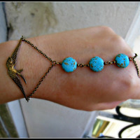 bird and turquoise bracelet/ring by a la pop jewelry