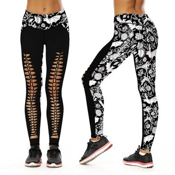 Bat Pattern Number Printing Tight Trousers Motion Run Yoga Bound Feet Pants