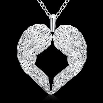 Silver Plated Heart Shape Angel Wings Necklace