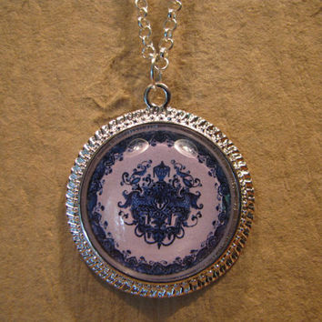 "Large Blue and White Urn Pattern Porcelain Plate Domed Cabochon Silver Finish Pendant with 20"" Snake Chain or 24"" Oval Link Chain"
