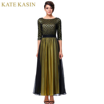 Kate Kasin Black Mother of the Bride Dresses Lace Formal Dress Vestido de Madrinha Vintage Half Sleeve Mothers Bridal Dresses