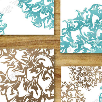 Teal Brown Aqua Wall Art Prints Decor Floral Flower Burst Bathroom Bedroom Living Room Elegant Swirl Dahlia Peony UNFRAMED White Background