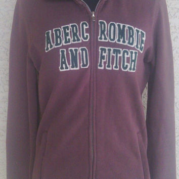 Brown hoodie - medium - vintage Abercrombie and Fitch - designer logo - green letters - zipper front - hooded sweatshirt - cotton polyester