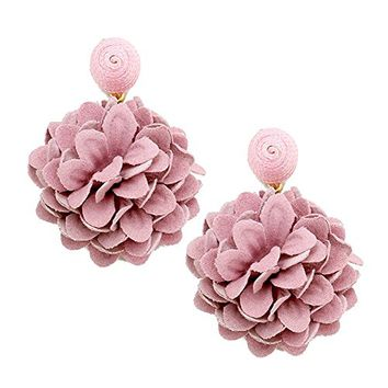 Pink and Gold Floral Fabric Drop Earrings