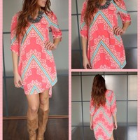 Loving Life Coral Pattern Dress