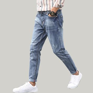Best Sale Jeans for Men Light Blue Straight Fashion Solid Casual Pants Tapered Full Length Students Boys Male Trousers Plus Size