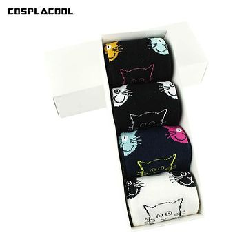 [COSPLACOOL]4 Style Cartoon Face Cat Pattern Cotton Women Socks Cute Animals Sweet Female Funny Sock Fashion Unisex Meias No Box