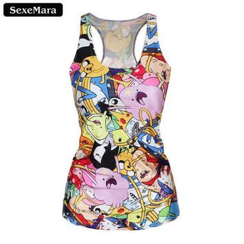 Sexemara Adventure Time Colorful Cartoon Role Printed Fitness Casual Women T Shirt Blusa Camisole Summer  Tank Top X 145