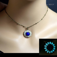 Lapis Lazuli Necklace Sunflower Glow In The Dark Necklace - Glowing Lapis Lazuli Flower Necklace, Tiny Bronze Choker  Wedding jewelry.