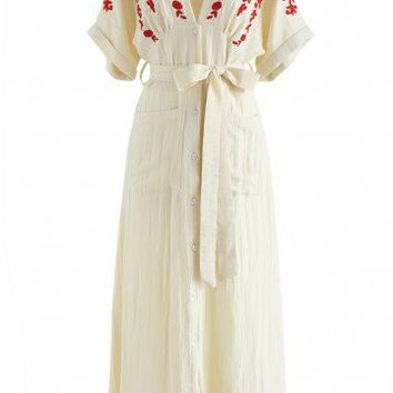 Just an Illusion Embroidered Dress in Cream