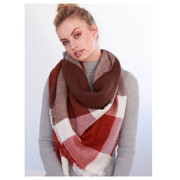 """Always My Style"" Brown, Burgundy Color Block Blanket Scarf"
