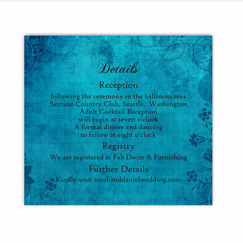 DIY Rustic Wedding Details Card Template Editable Word File Instant Download Printable Blue Details Card Elegant Floral Enclosure Card