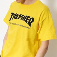 Thrasher Flame Classic Trend Fashion Couple High Quality T-Shirt F-CY-MN yellow
