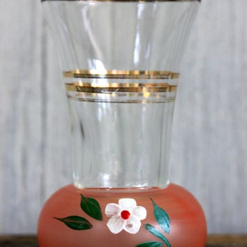 vintage wee hand painted vase // glass with gold details