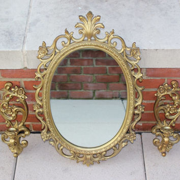 Vintage Homco Gold Hollywood Regency Ornate Oval Mirror with Matching Sconces