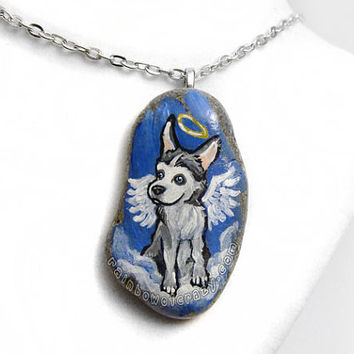 Husky Art, Dog Necklace, Angel Pendant, Pet Memorial Gift, Beach Stone, Animal Painting, Pet Loss Jewelry, Blue Sky, Sled Dogs