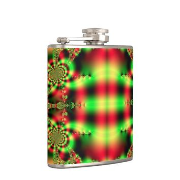 Colorful Green and Red Tartan Hip Flask