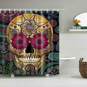 Shower Curtain Skull Design Bathroom Curtain Waterproof Ecofriendly Polyester