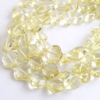 Lemon Quartz Briolette Checkerboard Faceted Diamond Center Drilled Large 7 to 9mm 1/2 Wholesale