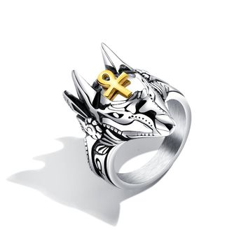 Epyptian God Anubis Figure Stainless Steel Ring Men's Cool Finger Jewelry Canine Head Animal Cross Thumb Ring Boyfriend Gift New
