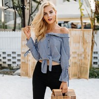 Casual Off Shoulder Grid Blouse Shirt Women Flare Sleeve Tie Up Bow Tops Female Street Wear Button Chemise