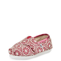 Glitter & Floral-Crochet Classic Shoe, Pink/Cream, Tiny - TOMS