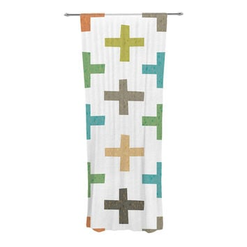 "Daisy Beatrice ""Hipster Crosses"" Multicolor Decorative Sheer Curtain"