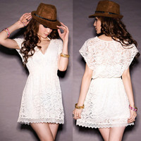 Round Cut Laced White Summer Dress