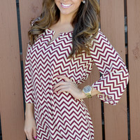 The Zig To My Zag Tunic: Maroon | Hope's