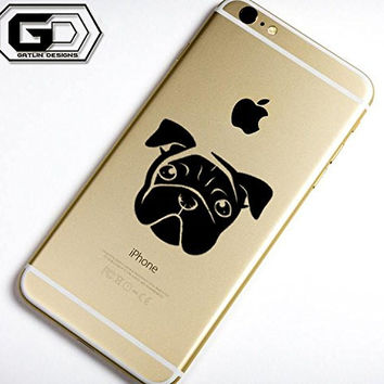 Cute Pug Black iPhone 6, 6 Plus Vinyl Sticker Decal Apple iPod iPad Laptop Mac Book Accessories
