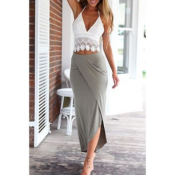 White Lace Halter Crop Top with Gray Maxi Skirt