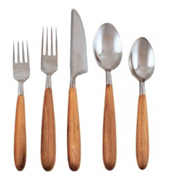 Teak Set of 5 Flatware