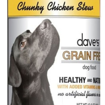 DAVES PET FOOD DOG CANS - DAVE'S GRAIN FREE CHUNKY CHICKEN STEW - 12/13OZ - DAVE'S PET FOOD - UPC: 685038112989 - DEPT: OTHER PET FOODS