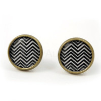 Chevron Black and White Earring Studs Stripes Zig Zag Print Geometry Jewelry Angular Free Shipping