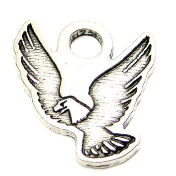 Engraved Eagle Genuine American Pewter Charm
