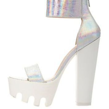 Silver Iridescent Chunky Lug Platform Heels by Charlotte Russe