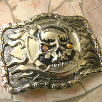 Silver Skull Belt Buckle, Flames, Skull and Crossbones,Biker Chick, Womens Mens Skull Accessories, Biker Belt, Silver Skull, Bicycle Chain,