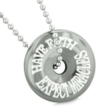 Inspirational Have Faith Expect Miracles Amulet Lucky Charm Coin Donut Hematite Pendant Necklace