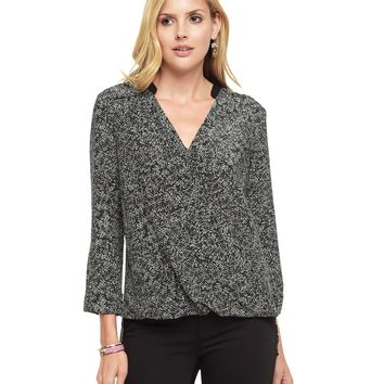 Top Hat Dancing Dewdrops Dancing Dewdrops Crossover Silk Blouse by Juicy Couture,