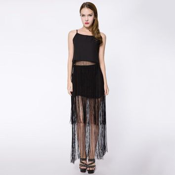 Stylish Spaghetti Strap Pure Color Tank Top + Elastic Waist Fringed Skirt Women's Twinset