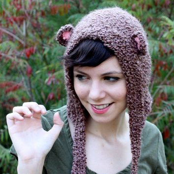 Bear Hat Bear Hood Teddy Bear Hat Grizzly Bear by talk2thetrees