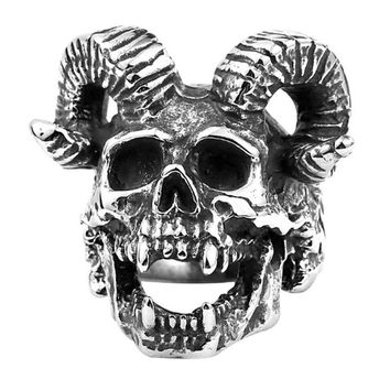 Mens Stainless Steel Skull Ring Punk Rock Biker Vintage