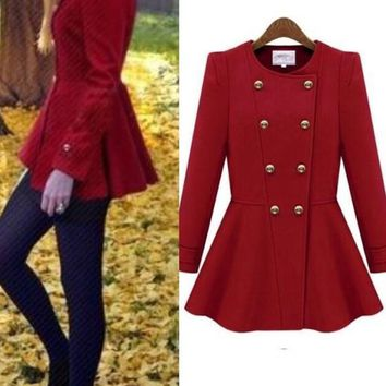 Red Double Breasted Peplum Round Neck Long Sleeve Fashion Wool Coat