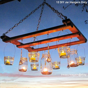 Mason Jar Chandelier DIY Candles Lanterns Luminaries 12 Wide Mouth Ball Jar Wires Upcycled Lighting Garden Party Weddings, jar hangers only