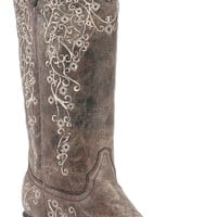 Corral Ladies Distressed Brown w/ Bone Embroidery Snip Toe Western Boots