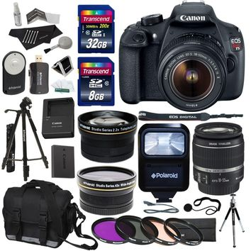 """Canon EOS Rebel T5 EF-S 18-55mm f/3.5-5.6 IS STM Lens + Polaroid .43 Wide Angle & Telephoto Lens + Transcend 32GB 8GB Memory Cards + Filter Set + Flash + 57"""" Tripod + Ritz Gear Bag + Accessory Bundle"""
